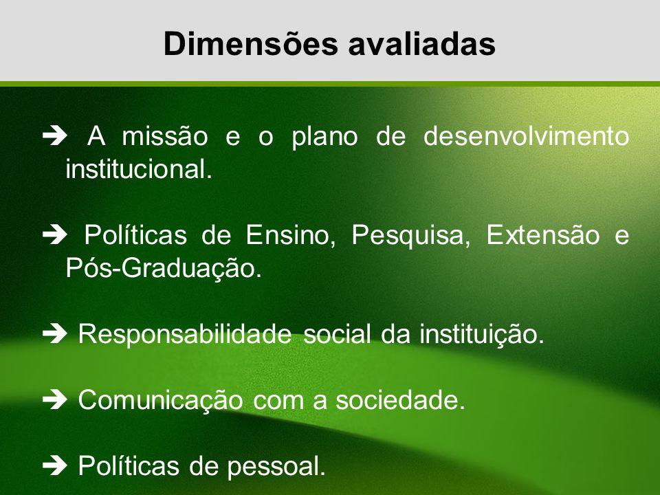 Dimensões avaliadas A missão e o plano de desenvolvimento institucional. Políticas de Ensino, Pesquisa, Extensão e Pós-Graduação. Responsabilidade soc