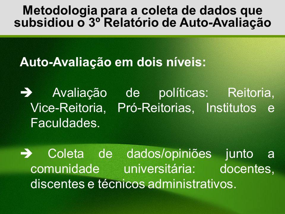 Metodologia para a coleta de dados que subsidiou o 3º Relatório de Auto-Avaliação Auto-Avaliação em dois níveis: Avaliação de políticas: Reitoria, Vic