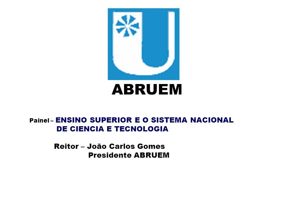 ABRUEM Painel – ENSINO SUPERIOR E O SISTEMA NACIONAL DE CIENCIA E TECNOLOGIA Reitor – João Carlos Gomes Presidente ABRUEM