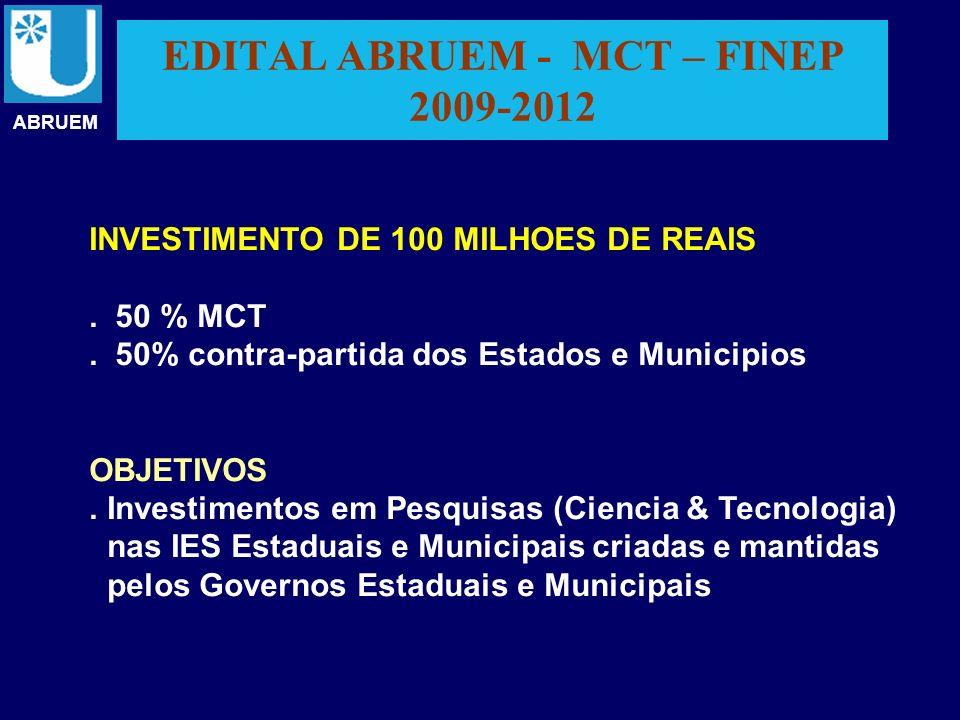 EDITAL ABRUEM - MCT – FINEP 2009-2012 ABRUEM INVESTIMENTO DE 100 MILHOES DE REAIS. 50 % MCT. 50% contra-partida dos Estados e Municipios OBJETIVOS. In