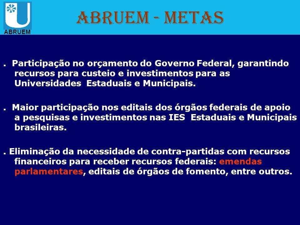 ABRUEM - Metas. Participação no orçamento do Governo Federal, garantindo recursos para custeio e investimentos para as Universidades Estaduais e Munic