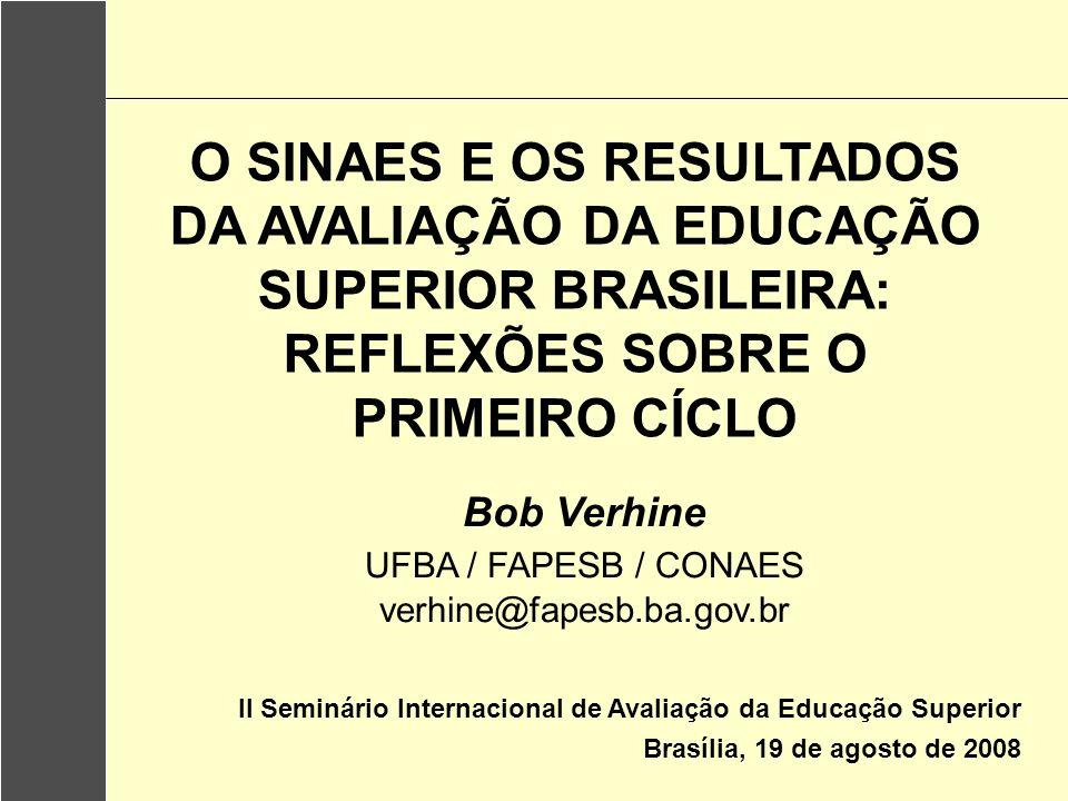 O SINAES E OS RESULTADOS DA AVALIAÇÃO DA EDUCAÇÃO SUPERIOR BRASILEIRA: REFLEXÕES SOBRE O PRIMEIRO CÍCLO II Seminário Internacional de Avaliação da Edu