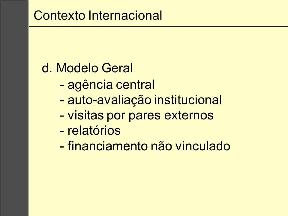 d. Modelo Geral - agência central - auto-avaliação institucional - visitas por pares externos - relatórios - financiamento não vinculado Contexto Inte