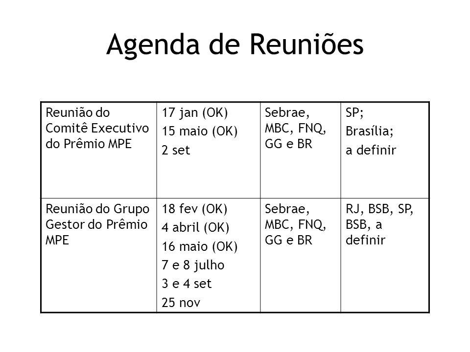 Agenda de Reuniões Reunião do Comitê Executivo do Prêmio MPE 17 jan (OK) 15 maio (OK) 2 set Sebrae, MBC, FNQ, GG e BR SP; Brasília; a definir Reunião