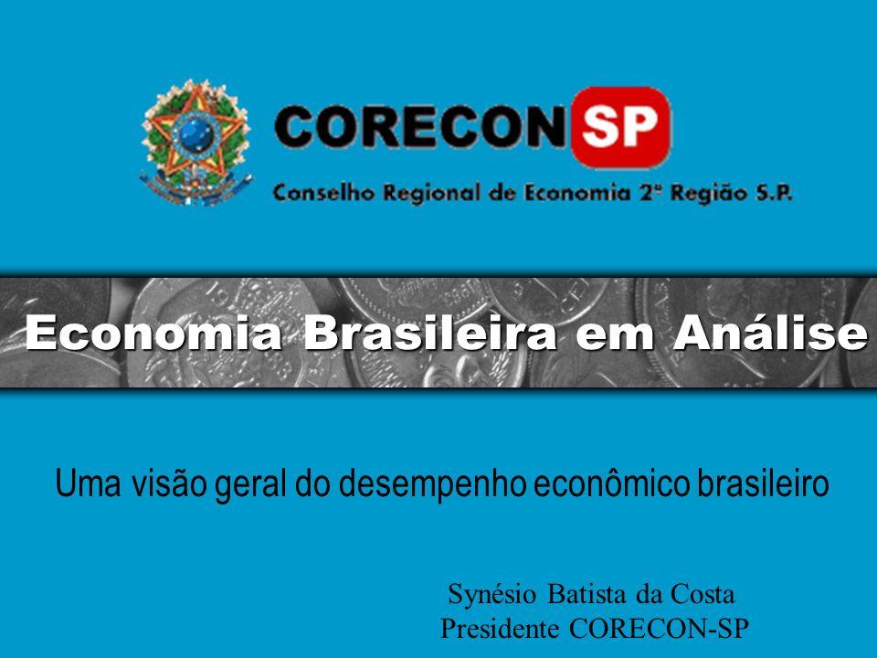 Economia Brasileira em Análise Uma visão geral do desempenho econômico brasileiro Synésio Batista da Costa Presidente CORECON-SP