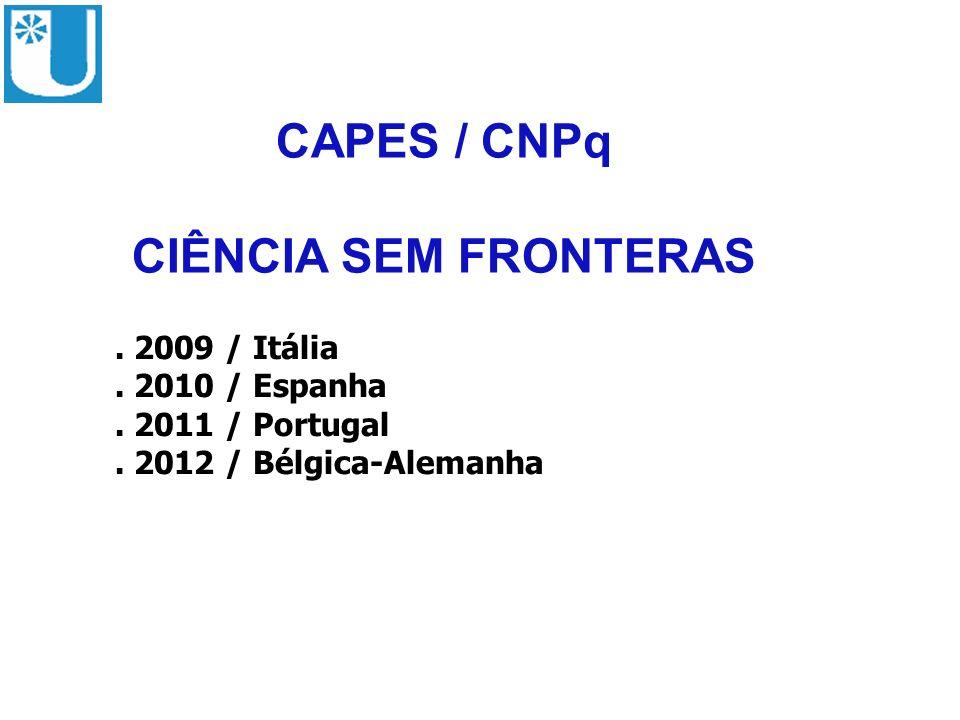 CAPES / CNPq CIÊNCIA SEM FRONTERAS. 2009 / Itália. 2010 / Espanha. 2011 / Portugal. 2012 / Bélgica-Alemanha