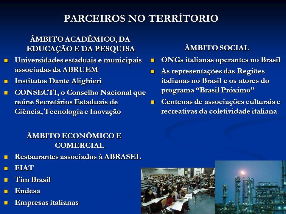 PARCEIROS NO TERRÍTORIO ÂMBITO ACADÊMICO, DA EDUCAÇÃO E DA PESQUISA Universidades estaduais e municipais associadas da ABRUEM Institutos Dante Alighie
