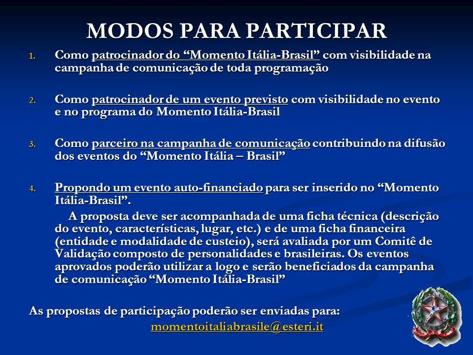 MODOS PARA PARTICIPAR 1. Como patrocinador do Momento Itália-Brasil com visibilidade na campanha de comunicação de toda programação 2. Como patrocinad