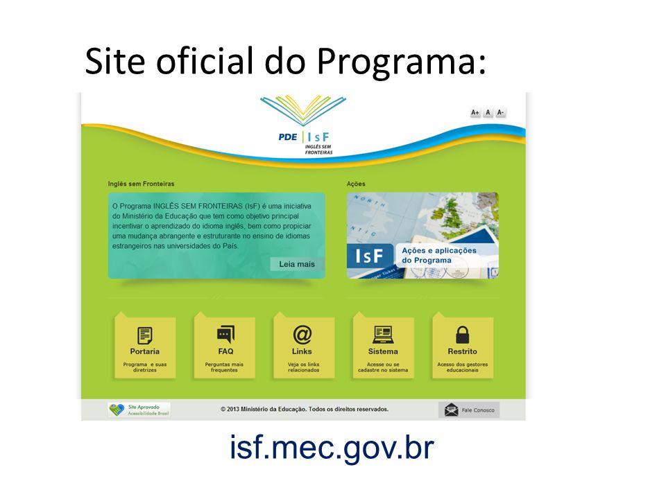Site oficial do Programa: isf.mec.gov.br