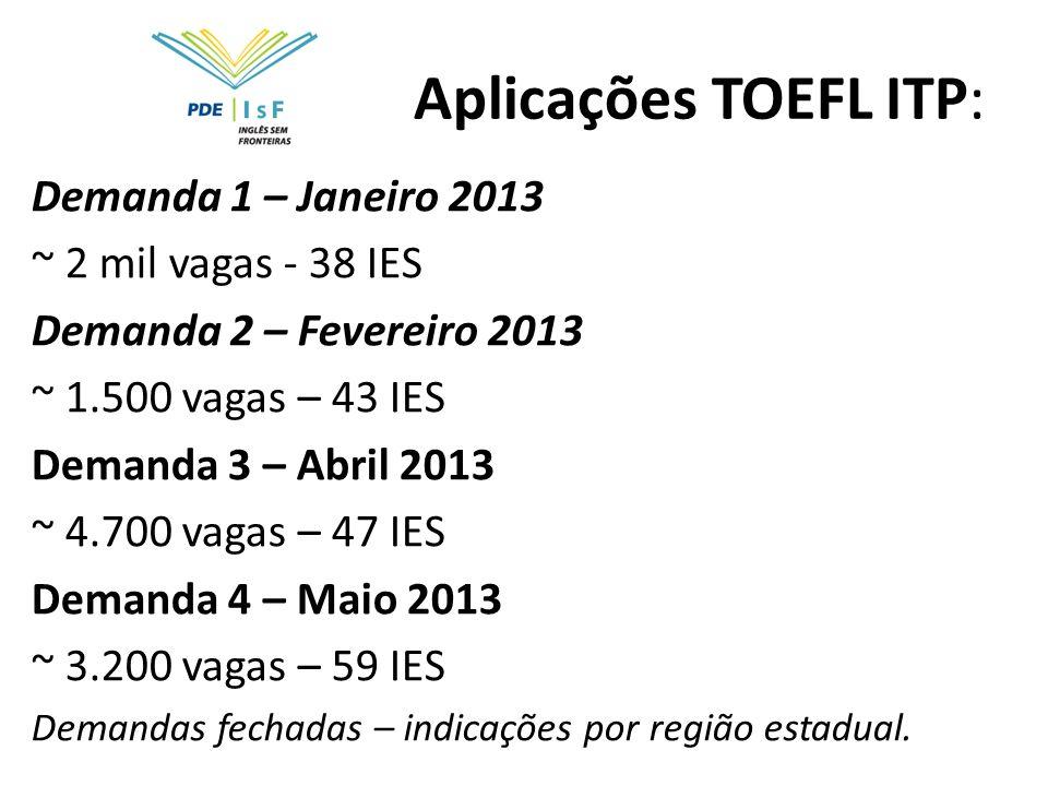 Aplicações TOEFL ITP: Demanda 1 – Janeiro 2013 ~ 2 mil vagas - 38 IES Demanda 2 – Fevereiro 2013 ~ 1.500 vagas – 43 IES Demanda 3 – Abril 2013 ~ 4.700