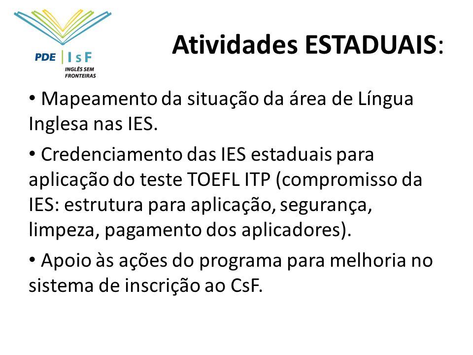 Atividades ESTADUAIS: Mapeamento da situação da área de Língua Inglesa nas IES. Credenciamento das IES estaduais para aplicação do teste TOEFL ITP (co