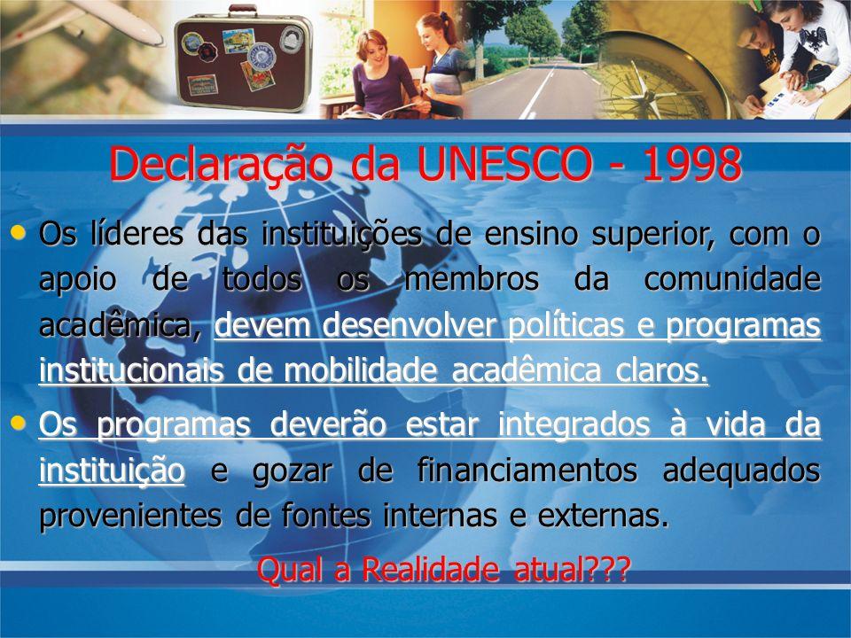 Declaração da UNESCO - 1998 Os líderes das instituições de ensino superior, com o apoio de todos os membros da comunidade acadêmica, devem desenvolver