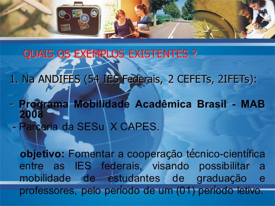 QUAIS OS EXEMPLOS EXISTENTES ? QUAIS OS EXEMPLOS EXISTENTES ? 1. Na ANDIFES (54 IES Federais, 2 CEFETs, 2IFETs): - - Programa Mobilidade Acadêmica Bra