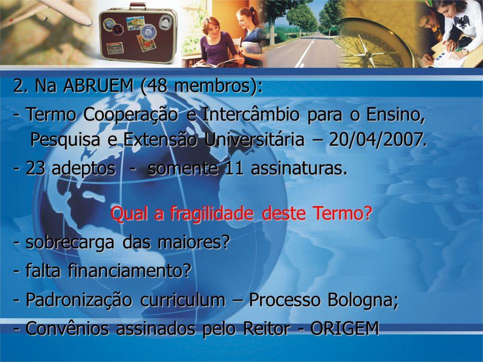 2. Na ABRUEM (48 membros): - Termo Cooperação e Intercâmbio para o Ensino, Pesquisa e Extensão Universitária – 20/04/2007. - 23 adeptos - somente 11 a