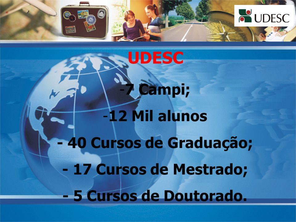 UDESC -7 Campi; -12 Mil alunos - 40 Cursos de Graduação; - 17 Cursos de Mestrado; - 5 Cursos de Doutorado.