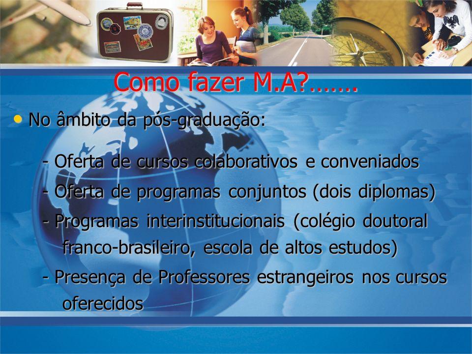 No âmbito da pós-graduação: No âmbito da pós-graduação: - Oferta de cursos colaborativos e conveniados - Oferta de programas conjuntos (dois diplomas)