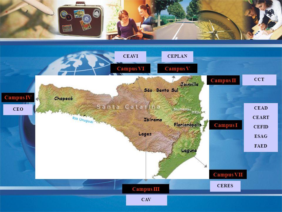Lages Chapecó Ibirama Florianópolis Joinville Laguna CEART CEFID ESAG FAED CEAD Campus II CCT CAV Campus III CEO Campus IV CEAVI Campus VI CERES Campu