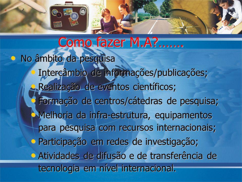 No âmbito da pesquisa No âmbito da pesquisa Intercâmbio de informações/publicações; Intercâmbio de informações/publicações; Realização de eventos cien