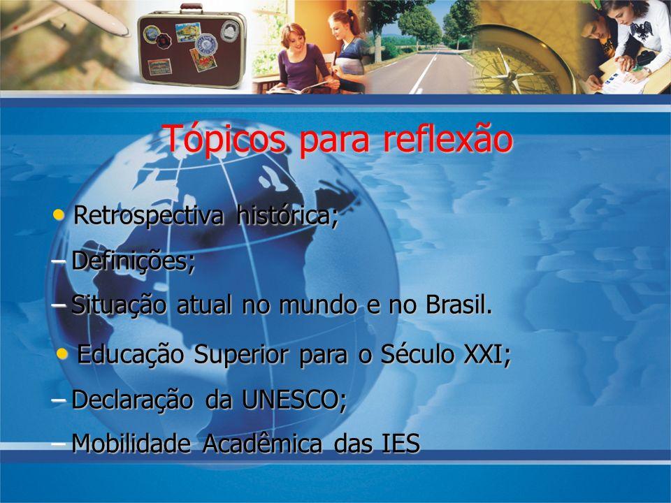 Tópicos para reflexão Retrospectiva histórica; Retrospectiva histórica; –Definições; –Situação atual no mundo e no Brasil. Educação Superior para o Sé