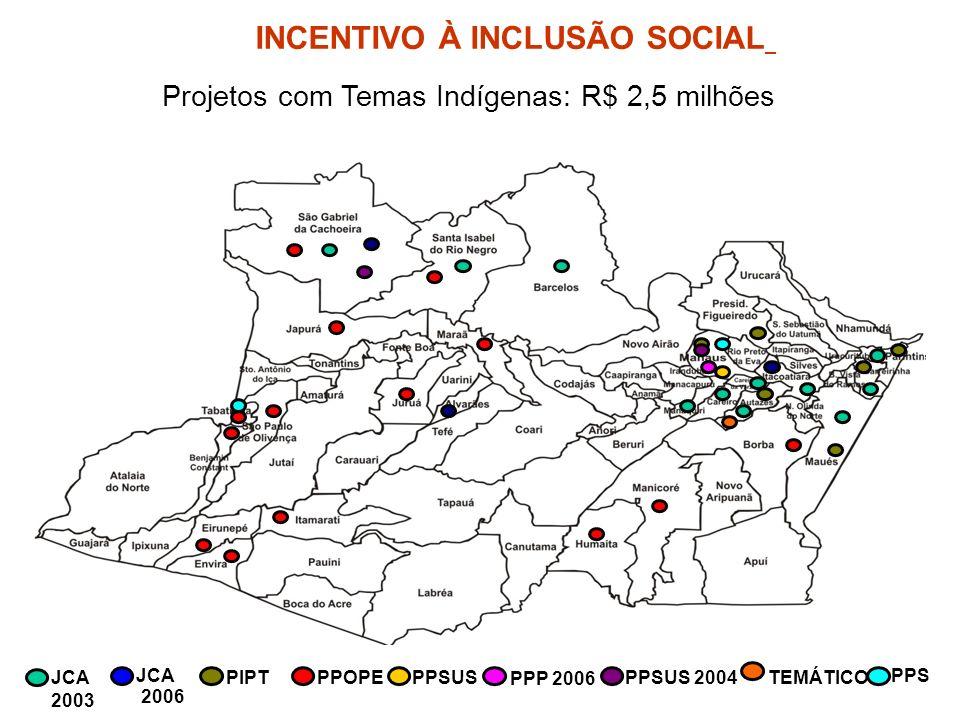 JCA 2003 JCA 2006 PIPTPPOPEPPSUS PPP 2006 PPSUS 2004TEMÁTICO PPS Projetos com Temas Indígenas: R$ 2,5 milhões INCENTIVO À INCLUSÃO SOCIAL