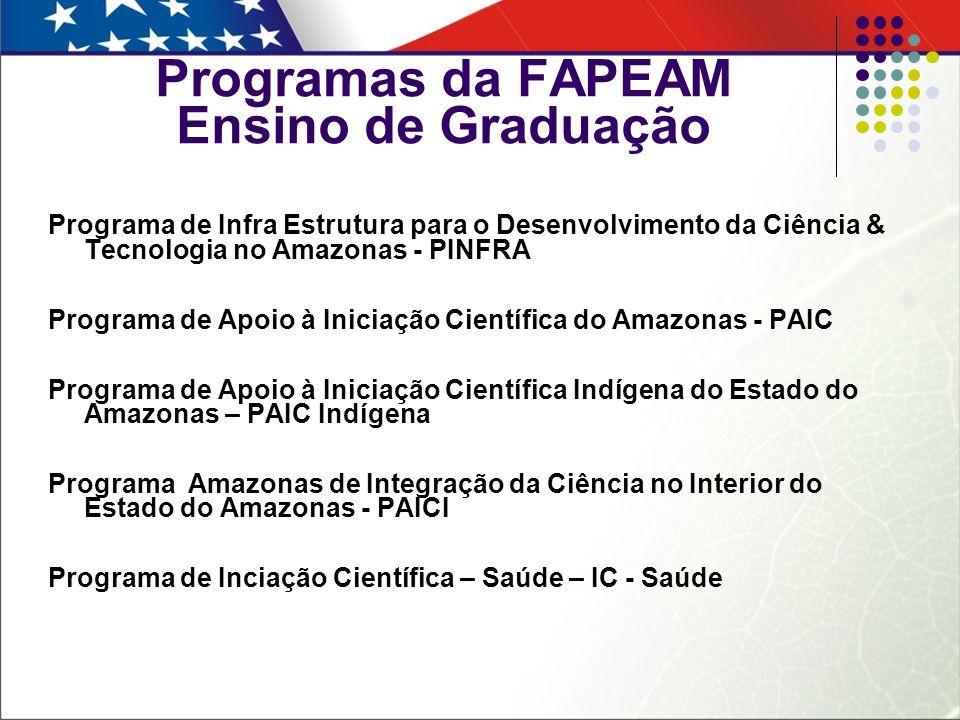 Programas da FAPEAM Ensino de Graduação Programa de Infra Estrutura para o Desenvolvimento da Ciência & Tecnologia no Amazonas - PINFRA Programa de Ap