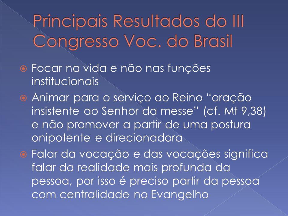 Focar na vida e não nas funções institucionais Animar para o serviço ao Reino oração insistente ao Senhor da messe (cf. Mt 9,38) e não promover a part