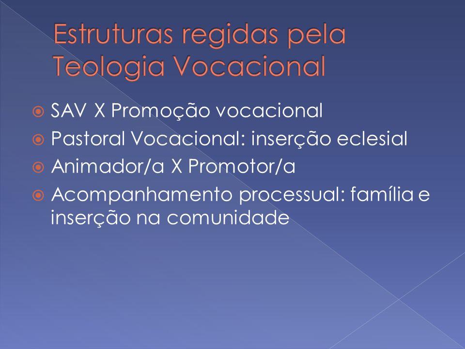 SAV X Promoção vocacional Pastoral Vocacional: inserção eclesial Animador/a X Promotor/a Acompanhamento processual: família e inserção na comunidade