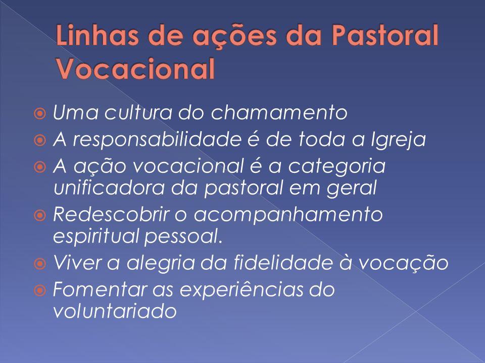 Uma cultura do chamamento A responsabilidade é de toda a Igreja A ação vocacional é a categoria unificadora da pastoral em geral Redescobrir o acompan