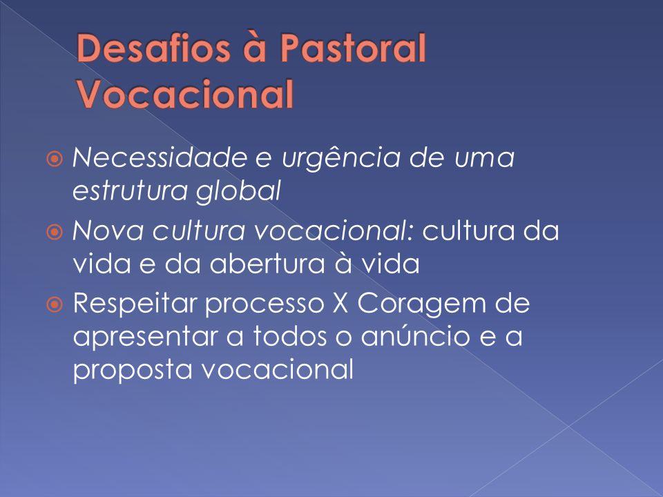 Necessidade e urgência de uma estrutura global Nova cultura vocacional: cultura da vida e da abertura à vida Respeitar processo X Coragem de apresenta