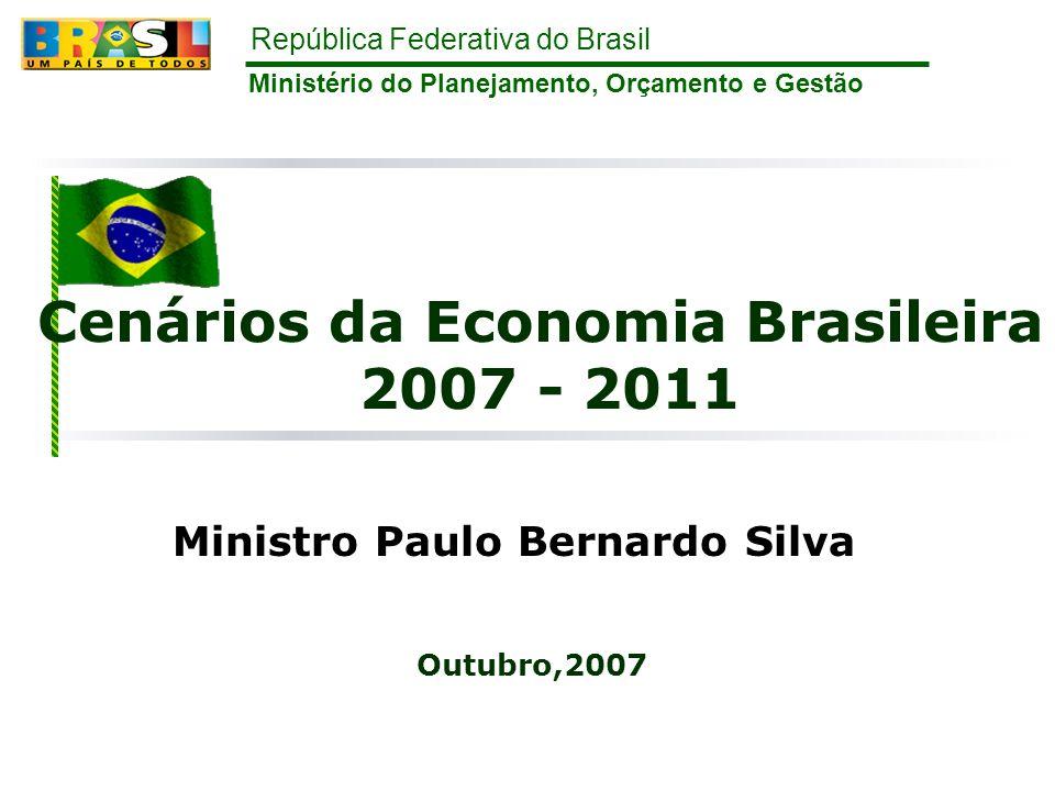 República Federativa do Brasil 12 IPCA (IBGE) % Fonte: IBGE Inflação controlada IPCA abaixo do centro da meta anual IPCA atingiu 17% em 12 meses Centro da Meta = 4,5% Projeção de Mercado* = 3,91% * mediana das expectativas de Mercado, BCB – Focus, de 11/10/07