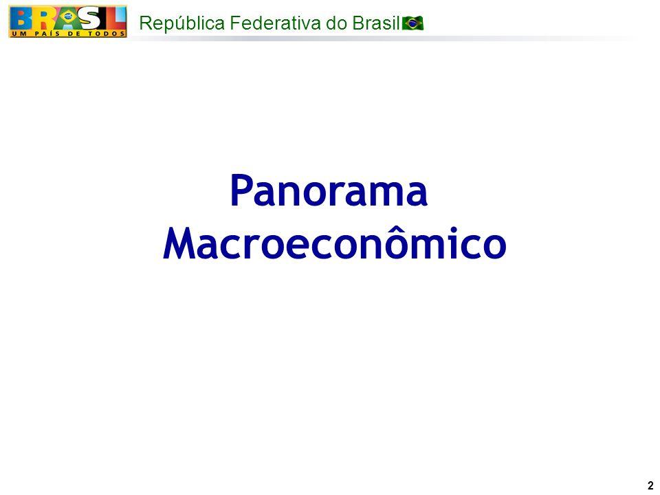 República Federativa do Brasil Ministério do Planejamento, Orçamento e Gestão Atividade econômica em 2007 Inflação e expectativas de inflação sob controle e dentro da meta, o que permite a manutenção da flexibilização da política monetária e expansão do crédito.