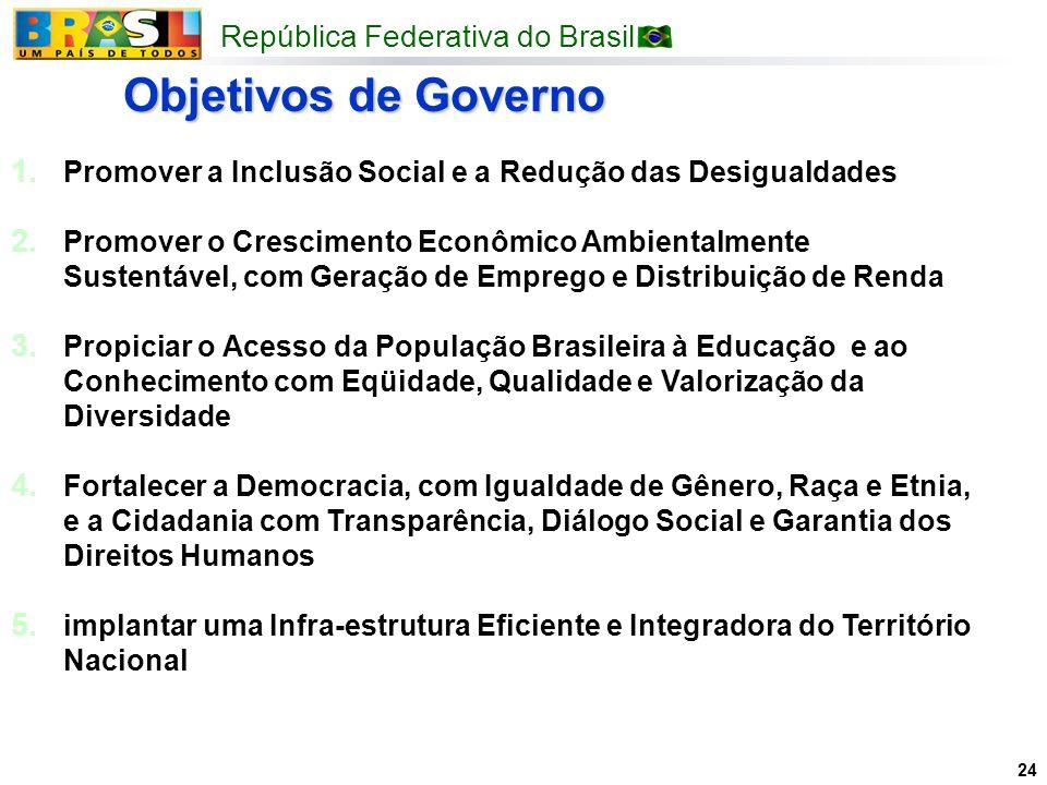 República Federativa do Brasil 24 1. Promover a Inclusão Social e a Redução das Desigualdades 2. Promover o Crescimento Econômico Ambientalmente Suste