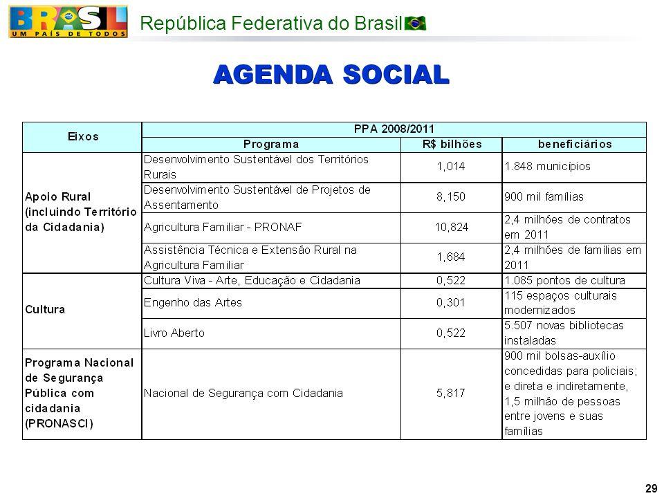 República Federativa do Brasil 29 AGENDA SOCIAL