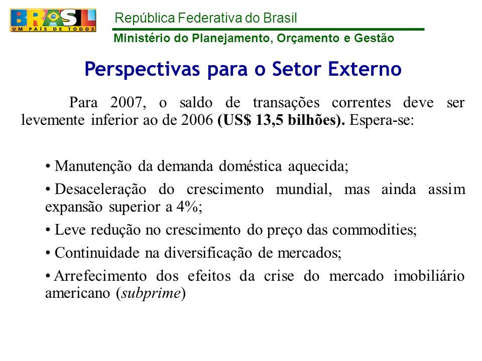 República Federativa do Brasil Ministério do Planejamento, Orçamento e Gestão Perspectivas para o Setor Externo Para 2007, o saldo de transações corre