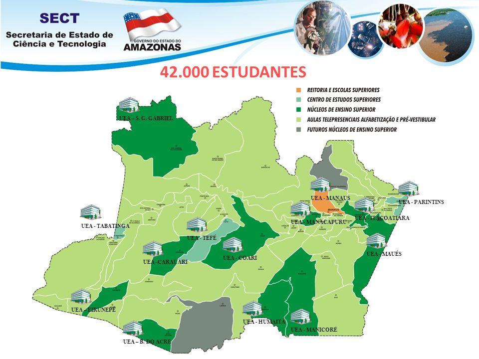 42.000 ESTUDANTES UEA - MANAUSUEA - TABATINGAUEA - TEFÉUEA - PARINTINSUEA – S. G. GABRIELUEA - COARIUEA -CARAUARIUEA - MANICORÉUEA - HUMAITÁUEA – B. D