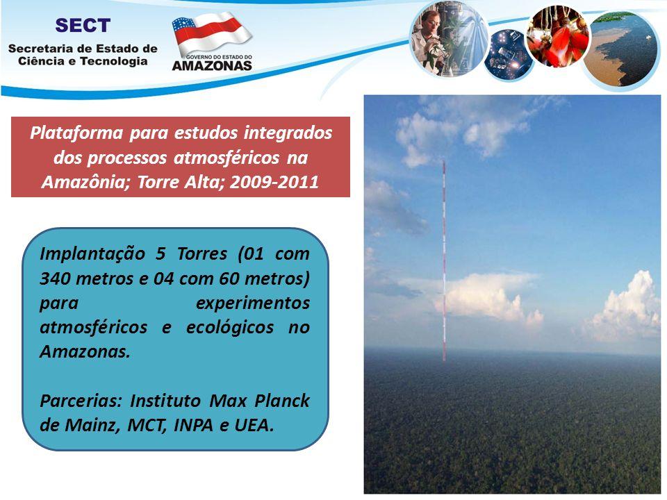 Plataforma para estudos integrados dos processos atmosféricos na Amazônia; Torre Alta; 2009-2011 Implantação 5 Torres (01 com 340 metros e 04 com 60 m
