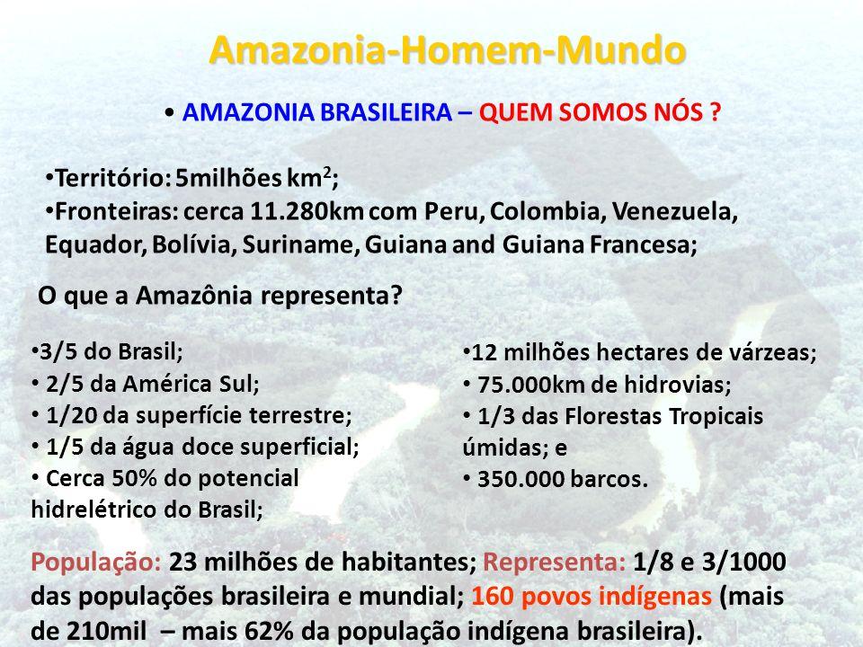 Amazonia-Homem-Mundo Amazonia-Homem-Mundo AMAZONIA BRASILEIRA – QUEM SOMOS NÓS ? Território: 5milhões km 2 ; Fronteiras: cerca 11.280km com Peru, Colo