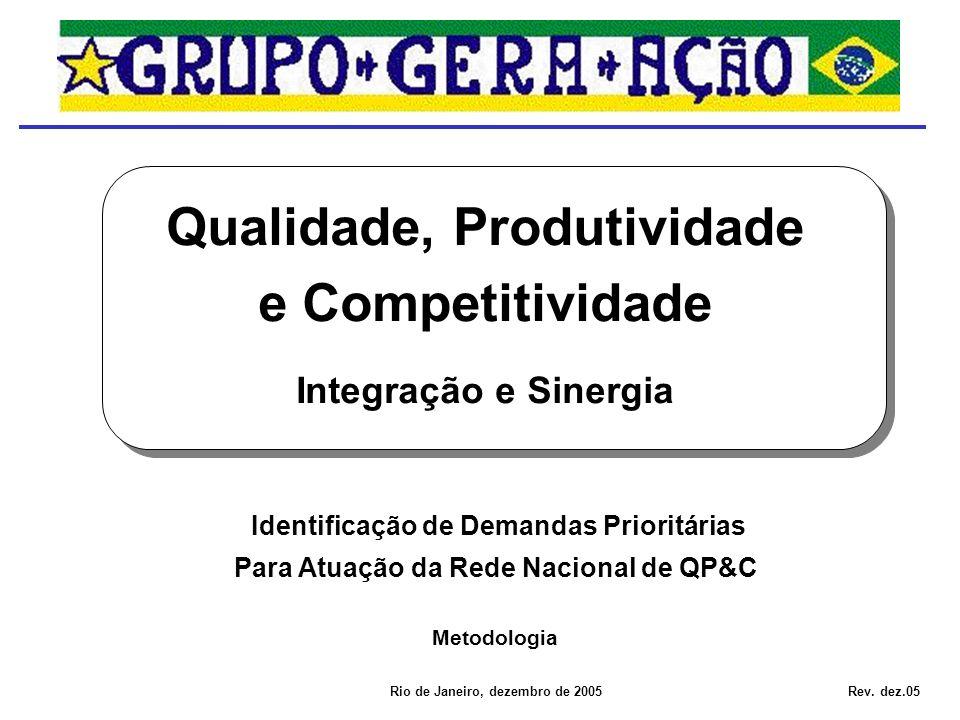 Identificação de Demandas Prioritárias Para Atuação da Rede Nacional de QP&C Qualidade, Produtividade e Competitividade Integração e Sinergia Rio de Janeiro, dezembro de 2005 Metodologia Rev.