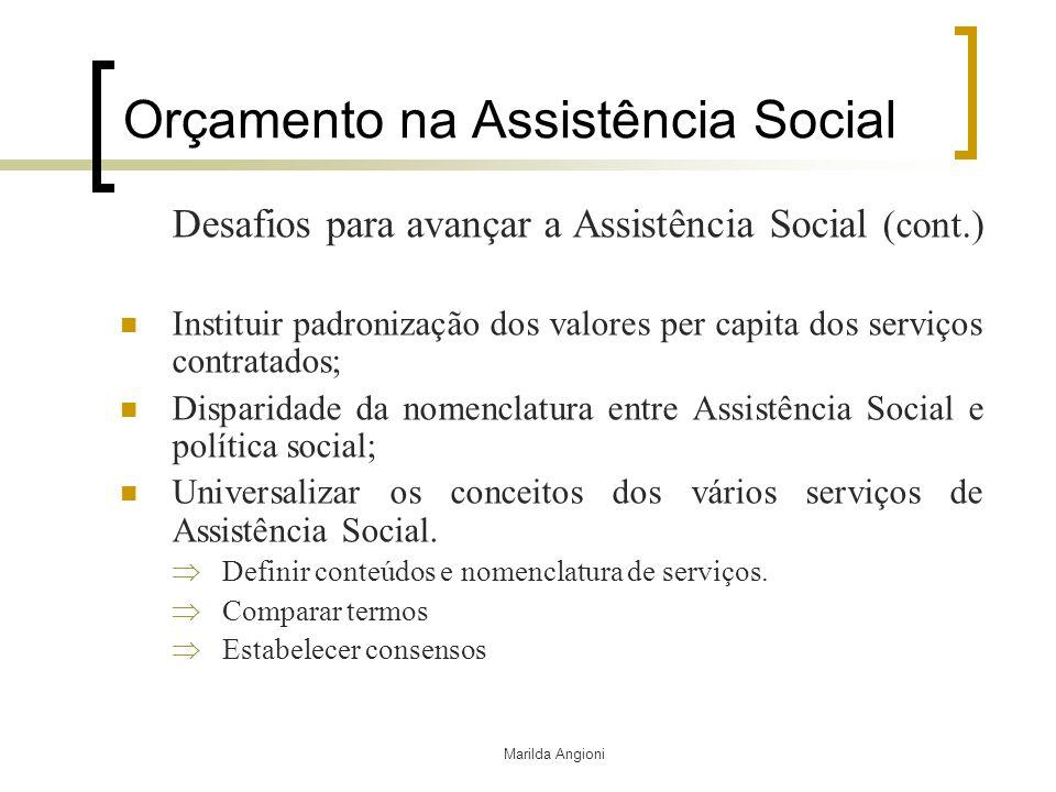 Marilda Angioni Orçamento na Assistência Social Desafios para avançar a Assistência Social (cont.) Instituir padronização dos valores per capita dos s