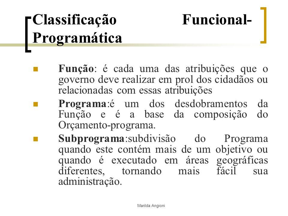Marilda Angioni Classificação Funcional- Programática Função: é cada uma das atribuições que o governo deve realizar em prol dos cidadãos ou relaciona