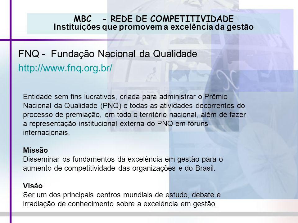 MBC - REDE DE COMPETITIVIDADE Instituições que promovem a excelência da gestão FNQ - Fundação Nacional da Qualidade http://www.fnq.org.br/ Entidade se