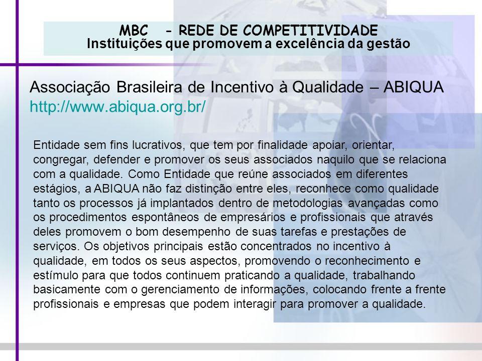 MBC - REDE DE COMPETITIVIDADE Instituições que promovem a excelência da gestão Associação Brasileira de Incentivo à Qualidade – ABIQUA http://www.abiq