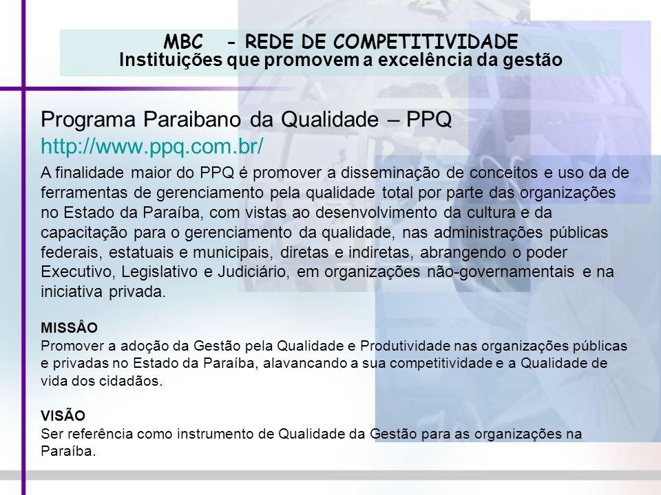 MBC - REDE DE COMPETITIVIDADE Instituições que promovem a excelência da gestão Programa Paraibano da Qualidade – PPQ http://www.ppq.com.br/ A finalida