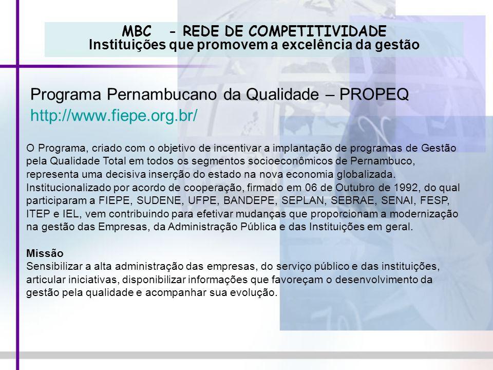 MBC - REDE DE COMPETITIVIDADE Instituições que promovem a excelência da gestão Programa Pernambucano da Qualidade – PROPEQ http://www.fiepe.org.br/ O