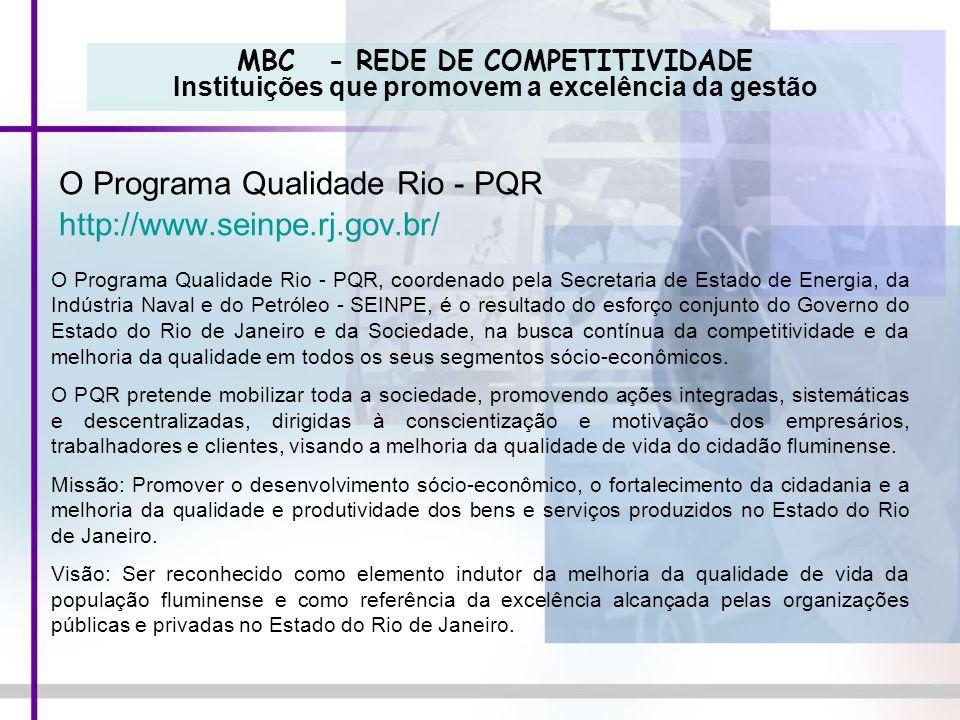MBC - REDE DE COMPETITIVIDADE Instituições que promovem a excelência da gestão O Programa Qualidade Rio - PQR http://www.seinpe.rj.gov.br/ O Programa