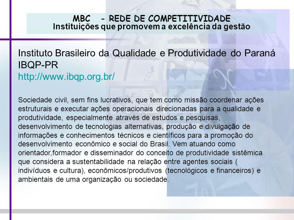 MBC - REDE DE COMPETITIVIDADE Instituições que promovem a excelência da gestão Instituto Brasileiro da Qualidade e Produtividade do Paraná IBQP-PR htt