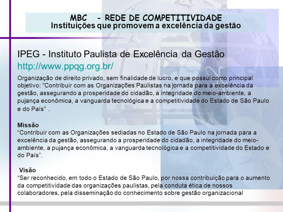 MBC - REDE DE COMPETITIVIDADE Instituições que promovem a excelência da gestão IPEG - Instituto Paulista de Excelência da Gestão http://www.ppqg.org.b