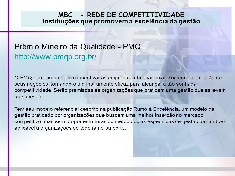 MBC - REDE DE COMPETITIVIDADE Instituições que promovem a excelência da gestão Prêmio Mineiro da Qualidade - PMQ http://www.pmqp.org.br/ O PMQ tem com