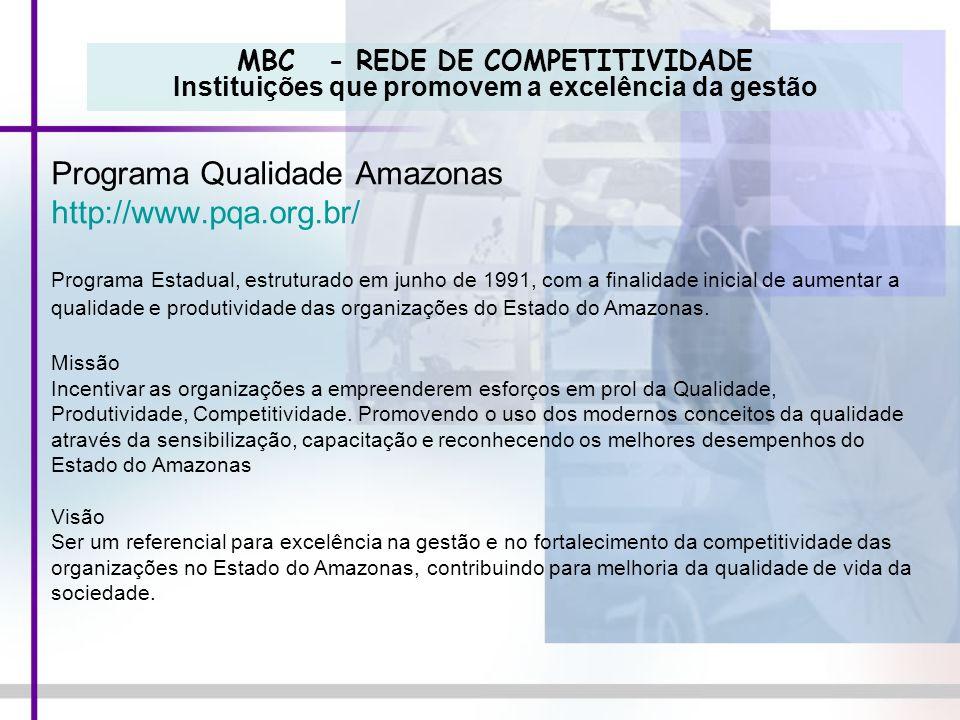 MBC - REDE DE COMPETITIVIDADE Instituições que promovem a excelência da gestão Programa Qualidade Amazonas http://www.pqa.org.br/ Programa Estadual, e
