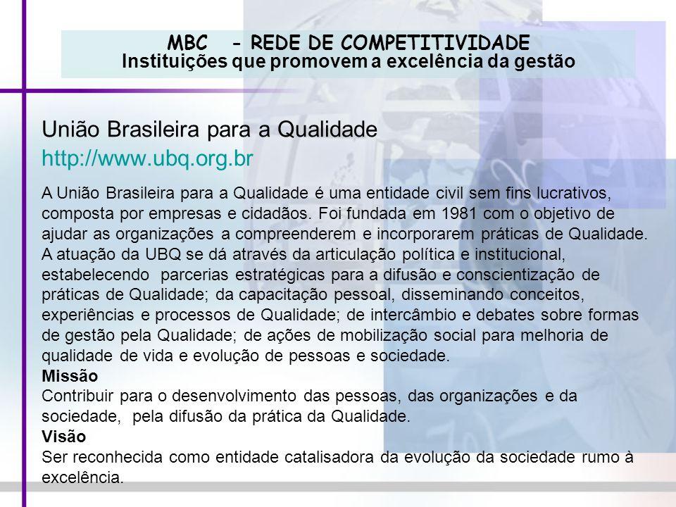MBC - REDE DE COMPETITIVIDADE Instituições que promovem a excelência da gestão União Brasileira para a Qualidade http://www.ubq.org.br A União Brasile